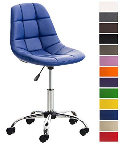 CLP Silla De Escritorio Emil Tapizado En Cuero PU I Silla De Ordenador con Ruedas I Silla De Estudio Regulable En Altura & Giratoria I Color: Azul