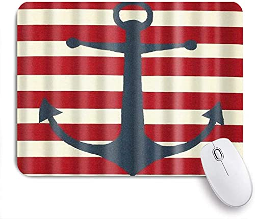 Gaming mouse pad,Vintage style anchor and red white stripe digital print nonslip rubber backing mousepad for notebooks computers mouse mats