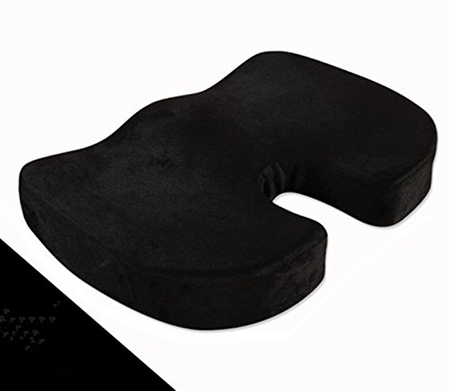 JUWENIN,Coccyx Orthopedic Comfy Pro Memory Foam Seat Cushion for for Home Office Desk Chairs, Auto Seats, Sports Stadium Seats (Black)