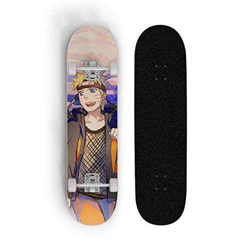 XFLYX Naruto Uzumaki Naruto Laughs Anime Skateboard, Mini Cruiser, 7 capas Maple Deck Skateboard, carga 100 kg, principiante Road Street Scooter