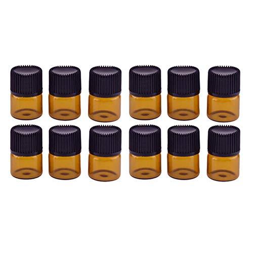 Annfly 12 kleine Fläschchen für ätherische Öle, kleine Fläschchen aus Glas, für ätherische Öle, niedliche Mini-Glasflasche, leere Probenbehälter mit Schraubverschluss (5 ml).