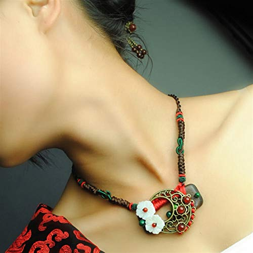 Carved Shell Flower Wood Torques Hollow Retro Copper A Gate Beads Chokers Necklace Original Ethnic Jewelry yangain