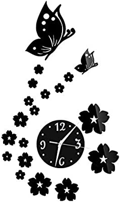 eDealMax Espejo 3D Flor de Mariposa del reloj de pared de DIY etiqueta engomada del hogar decoración de la habitación