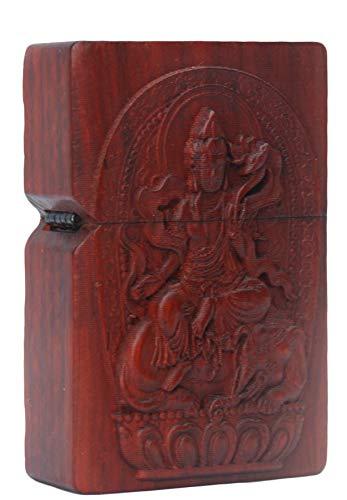 Natural Huanghuali Wood Rosewood Carving Lighter Shell Box for Zippo Module/Zodiac Protector Deity (Samantabhadra Boddhisattva)