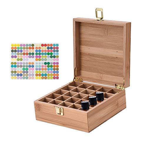 CHSEEO Ätherisches Öl Box Organisator Aufbewahrungsbox 25 Löcher Holzbox für Duftöle und Ätherische Öle Deal Geschenk für Geburtstage und Weihnachten #2