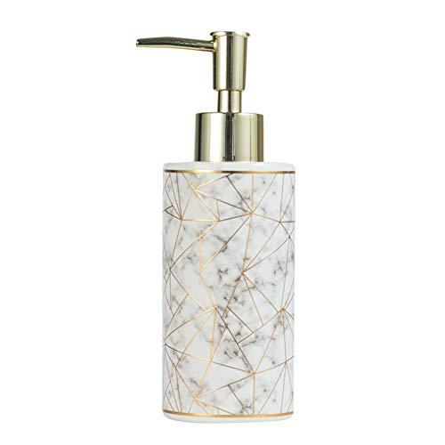 Ukallaite - Dispensador de champú (300 ml), diseño de loción de mármol, cerámica, Blanco