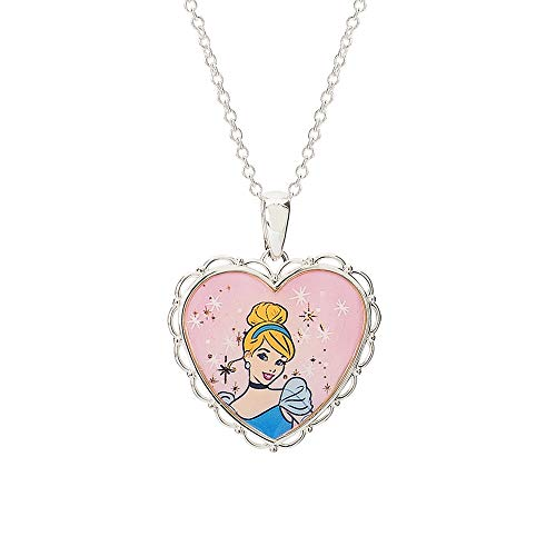 "Disney Princess Cinderella Jewelry, Silver Plated Pendant Necklace, 18"" Chain"