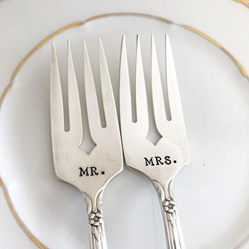 MR & MRS salad forks, hand stamped vintage sweetheart wedding set, Valley Rose