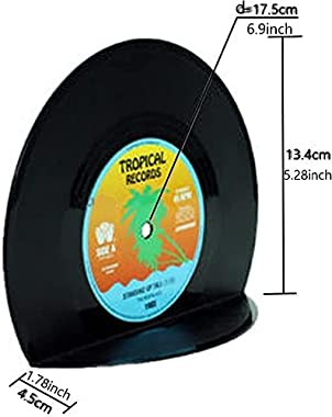 VinBee Retro Vinyl Bookends Black Record Book Ends Classic CD Vintage Decorative Bookends for Shelves Nonskid Bookend Support