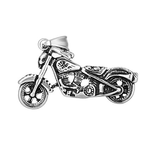 Bonarty Moda Hombre Titanio Acero Moto Gadgets Colgante Collar Plata