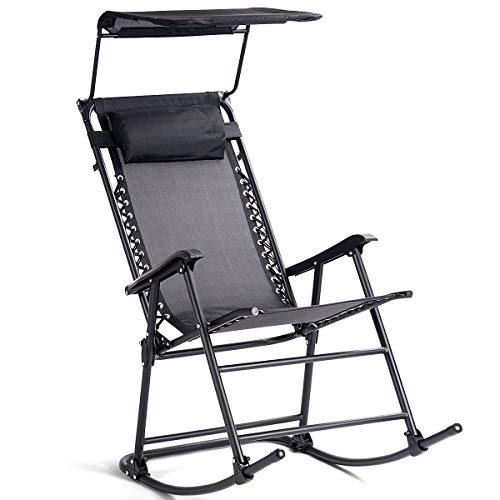 Goplus Folding Rocking Chair w/Shade Canopy, Portable Zero Gravity Recliner for Outdoor Lawn Beach...
