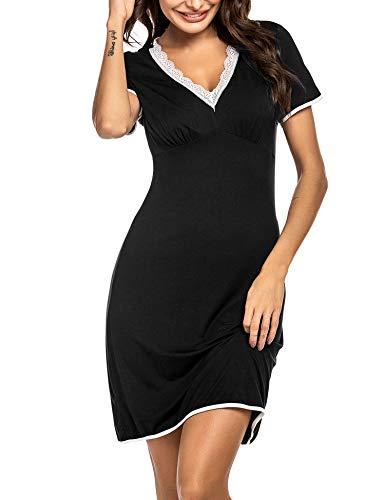 Ekouaer Damen weiches Nachthemd nachtwäsche Spitze-ordnungs-Schlaf-Kleid klein schwarz