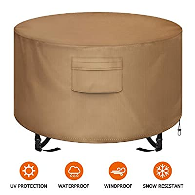 """NEXCOVER Fire Pit Cover, Waterproof 600D Heavy Duty Cover Fits Round Outdoor Fire Pit or Table 44""""D x 22"""" H, Fade & Weather Resistant"""