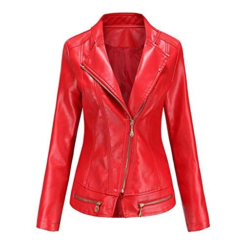 WRYIPSF Primavera Otoño Turn-Down Colllar Lady Faux Cuero Chaquetas Mujeres Slim Black Mostaza Verde PU Jacket Chaqueta Sólido