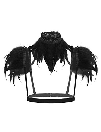 iixpin Damen Gothic Feder Cape Schal Schulter Flügel Punk Kostüm mit Kragen Brust Harness Halloween Fasching Karneval Party Kostüm Schwarz Einheitsgröße