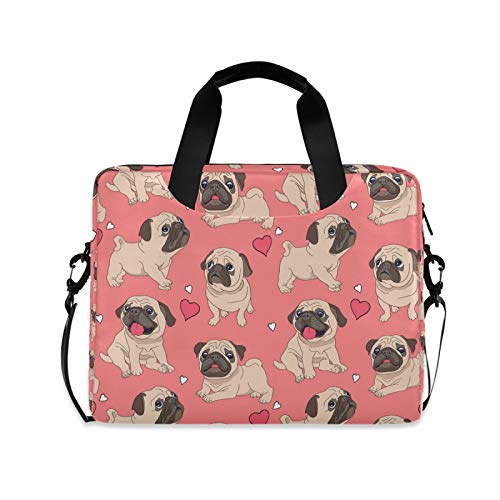 OOWOW Laptop Bag for Women Men Cute Bulldog Pug Puppy Lightweight Briefcase 14 15.6 16in Laptop Sleeve Case Computer Shoulder Messenger Bag