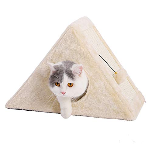 PAWZ Road 2 in 1 Cat Scratching Post Triangle Cat Cave Tent Playhouse with Scratching Board Foldable Cat Scratching Toy Beige