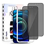 TILON(2 Pack) iPhone Screen Protector Privacy Compatible for iPhone 12 Pro Max 6.7 Inch, Case Friendly Bubble Free Full Cover Screen Protector Anti-Spy Tempered Glass Film Ultra-Clear