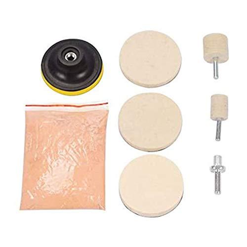Yaootely Kit de Polvo de Pulido de Vidrio de óXido de Cerio de 8 Uds. 120G para AraaAzos Profundos Removedor de AraaAzos de Limpieza de Cristales de Ventanas de Parabrisas