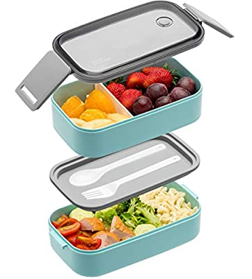 Bento Box For Adults Kids - 1600ML All-in-One Stackable?Premium Japanese Bento Lunch Box Container With Utensil, Durable Leak-proof Eco-Friendly, Micro-Wave Dishwasher Freezer Safe (Blue)