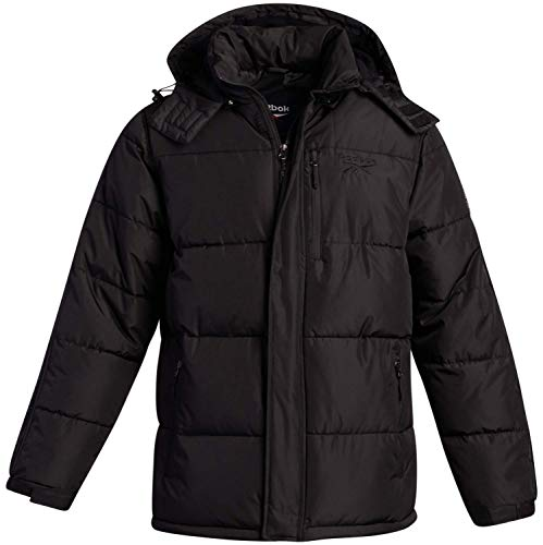 Reebok Men's Classic Hooded Puffer Jacket with Three Pockets and Sleeve Taping, Black, Size XX-Large