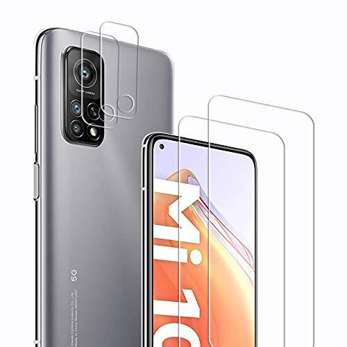Didisky [2+2 Pezzi] Vetro Temperato per Xiaomi Mi 10T 5G   10T PRO 5G, 2 Pezzi Vetro Temperato e 2 Pezzi Protezione Fotocamera Protezione Schermo Pellicola, Facile da installare