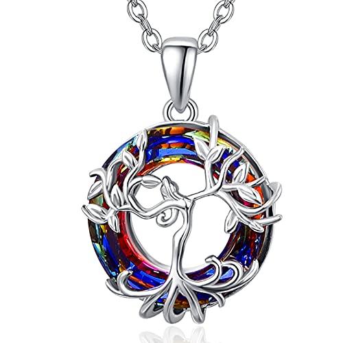 Baum des Lebens Halskette Sterling Silber Stammbaum Anhänger Halskette mit Kristallgeschenken Geburtstagsgeschenke für Frauen Mädchen
