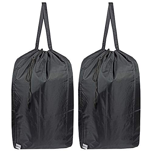 Product Image of the UniLiGis Washable Travel Laundry Bag with Handles and Drawstring (2 Pack), Heavy Duty Large Enough to Hold 3 Loads of Laundry, Fit a Laundry Basket or Clothes Hamper, 27.5x34.5 in,Black