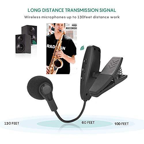 JASZW Sax Wireless Mikrofon - Wireless-Saxophon-Mikrofon, System Professionelle Sax-Mikrofon Schwanenhals Kondensatormikrofon BüHnenleistung