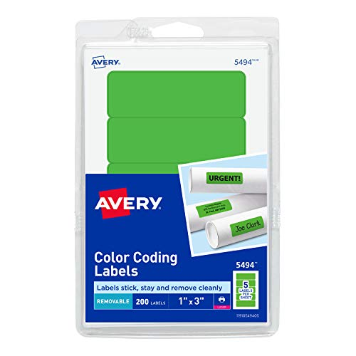 Avery Removable Print or Write Color Coding Labels for Laser Printers, 1 x 3 Inches, Neon Green, 200 Labels (5494)
