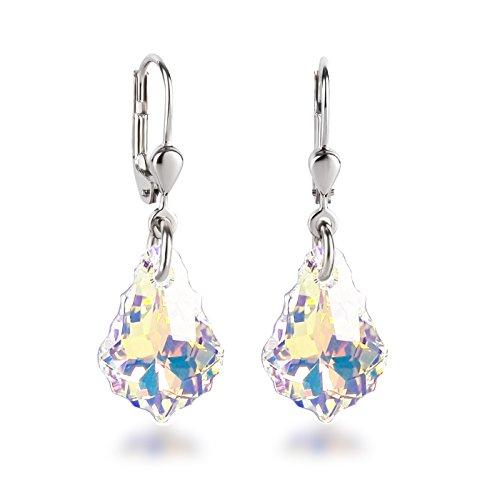 Schöner SD, 925 Silber Ohrringe mit kleinen Swarovski® Kristall Barock Tropfen in Crystal Aurora Boreale