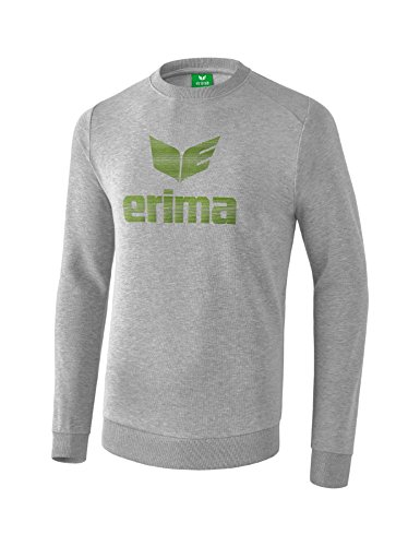 Erima 2071815 Sweat-Shirt Mixte Enfant, Gris Clair Chiné/Twist of Lime, FR : XS (Taille Fabricant : 164)