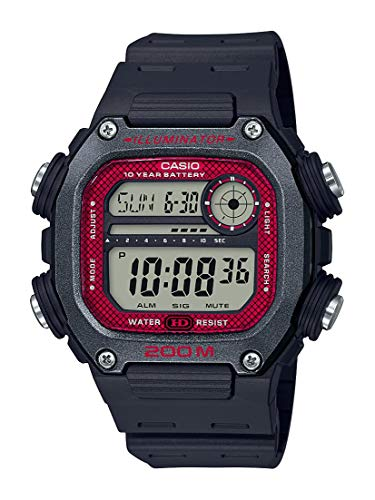 Casio 10 Year Battery Quartz Watch with Resin Strap, Black, 27.2 (Model: DW-291H-1BVCF)
