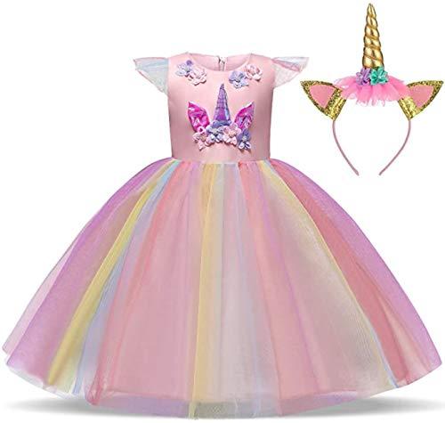 TTYAOVO Ragazze Unicorno Elegante Vestito da Principessa Bambini Fiore Concorso Festa Vestito Senza Maniche Balze Vestiti Taglia150 (9-10 Anni) 437 Rosa