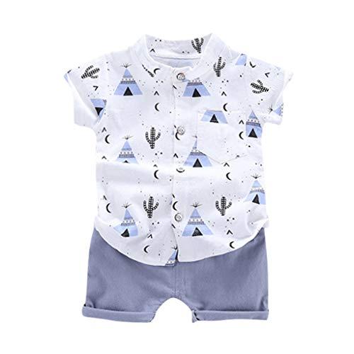 IMJONO Pas Cher Vêtements Enfants Été,1-4ans Chemise Garçons Tops Shorts Outfits Chic Cadeau Ensemble Bébé Garçons Dessin animé T-Shirt Hauts+ Shorts(Bleu,3-4 Ans