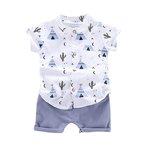 Briskorry Conjunto de camiseta de manga corta y pantalones cortos para bebé, de 2 piezas, para verano, con estampado de dibujos animados, camiseta y pantalones cortos