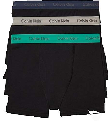 Calvin Klein Men's Cotton Stretch Multipack Boxer Briefs, Black with Ghost Grey/Tourney/Mood Indigo, X-Large