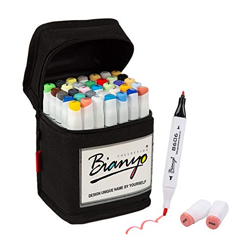 Bianyo 36 Colors Dual Tips Art Markers Alcohol Based Highlighter Pens with Assorted Colors & Gift Canvas Bag for Adults& Kids Coloring Drawing Outlining