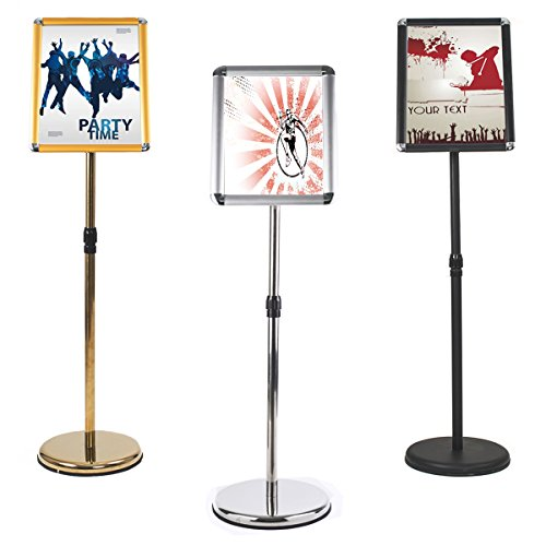 Aluminum Snap Open Frame Adjustable Floor Sign Stand 8.5 x 11 Vertical and Horizontal View Black Standing Sign Holder with Base for Display 2PACK