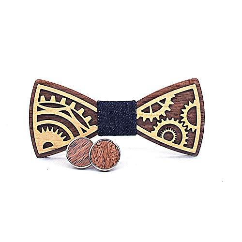 Kleidung Fliege for Männer Frauen Holz Tie-Gang-Schnitzen Schmetterlings-Bindung Schmetterlings-Hemd aus Holz Fliege Fliege (Color : Navy Blue, Size : 5 * 9.5cm)