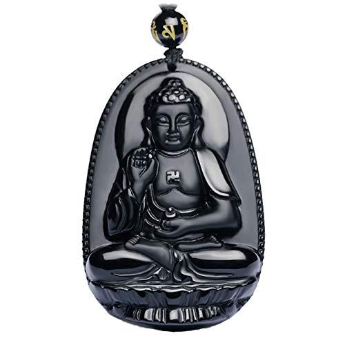 Buddha Bodhisattva Pendant Necklace Amulet Talisman of Obsidian (Amitabha (Infinite) - For women)