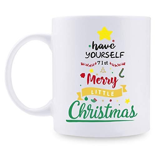 Regalos de 71 cumpleaños para mujeres – 71 años de edad para mujeres, regalos de cumpleaños de 71 años, taza de Papá Noel, taza de árbol de Navidad de 11 onzas para fiestas, celebraciones, reuniones