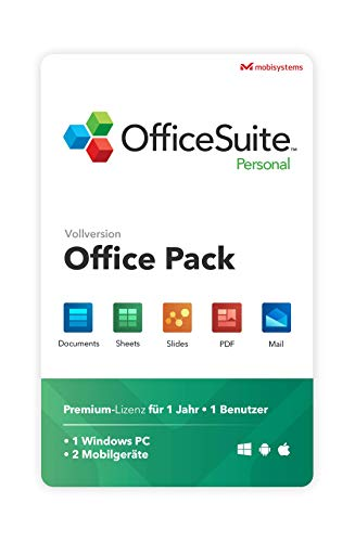 OfficeSuite Personal – Vollversion – Documents, Sheets, Slides, PDF, Mail und Calendar für 1 Windows PC & 2 Mobile Geräte / 1 Jahres-Lizenz