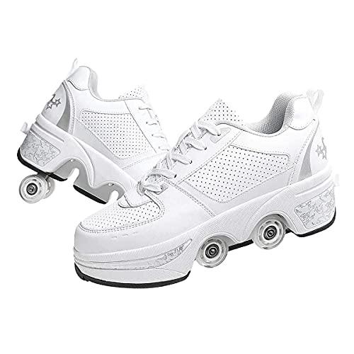 XWZH Doble Rodillo Zapatos De Skate Zapatos Invisible De Polea De Zapatos Zapatillas De Deporte Luz Zapatos Zapatos Multiusos 2 En 1 Patines Zapatillas,White-38
