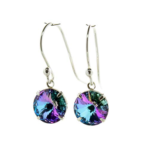 pewterhooter 925 Sterling Silver drop earrings for women made with sparkling Starlight crystal from Swarovski. Gift box. Made in the UK. Hypoallergenic & Nickle Free for Sensitive Ears.