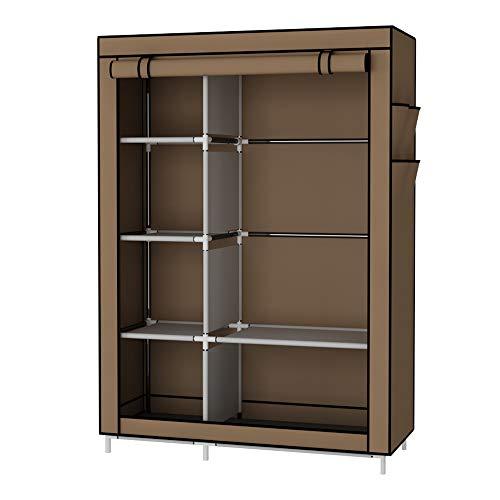 UDEAR Armario Closet Organizador Plegable para Ropa Ropero Resistente al Polvo Guardarropa Marrón 105 x 45 x 170 CM