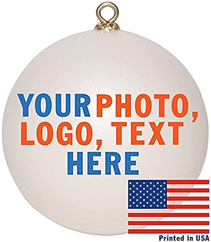 Custom Christmas Ornament | Personalized and Customizable Blank Ball Ornament for Holidays with Photo, Picture, Logo, Name, or Text | Pearl Color Design Your Own Ornament