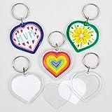 Baker Ross Lot 6 de Porte-clés Cœur à personnaliser - Idéal comme cadeaux de Fête des mères, Fête des pères, St Valentin