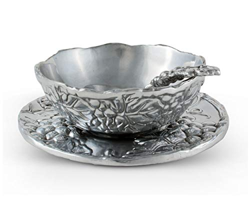 "Arthur Court Designs Aluminum 3-pieces Antler Condiment Server Bowl 5.25 Diameter Plate 7"" Diameter"