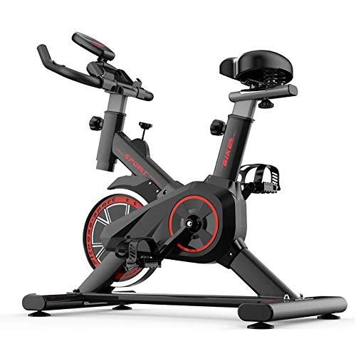 AgByy Bicicleta Estática De Ciclismo para Interiores, Volante Grande Impulsado por Correa Directa, Monitor De 5 Funciones, Sensores De Frecuencia Cardíaca, Asiento Ajustable, Equipo para Adelgazar